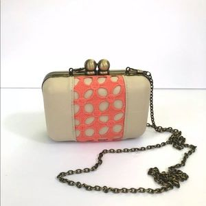 Darling brand kiss closure coral and cream purse